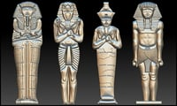 set 4 statues egypt 3D model