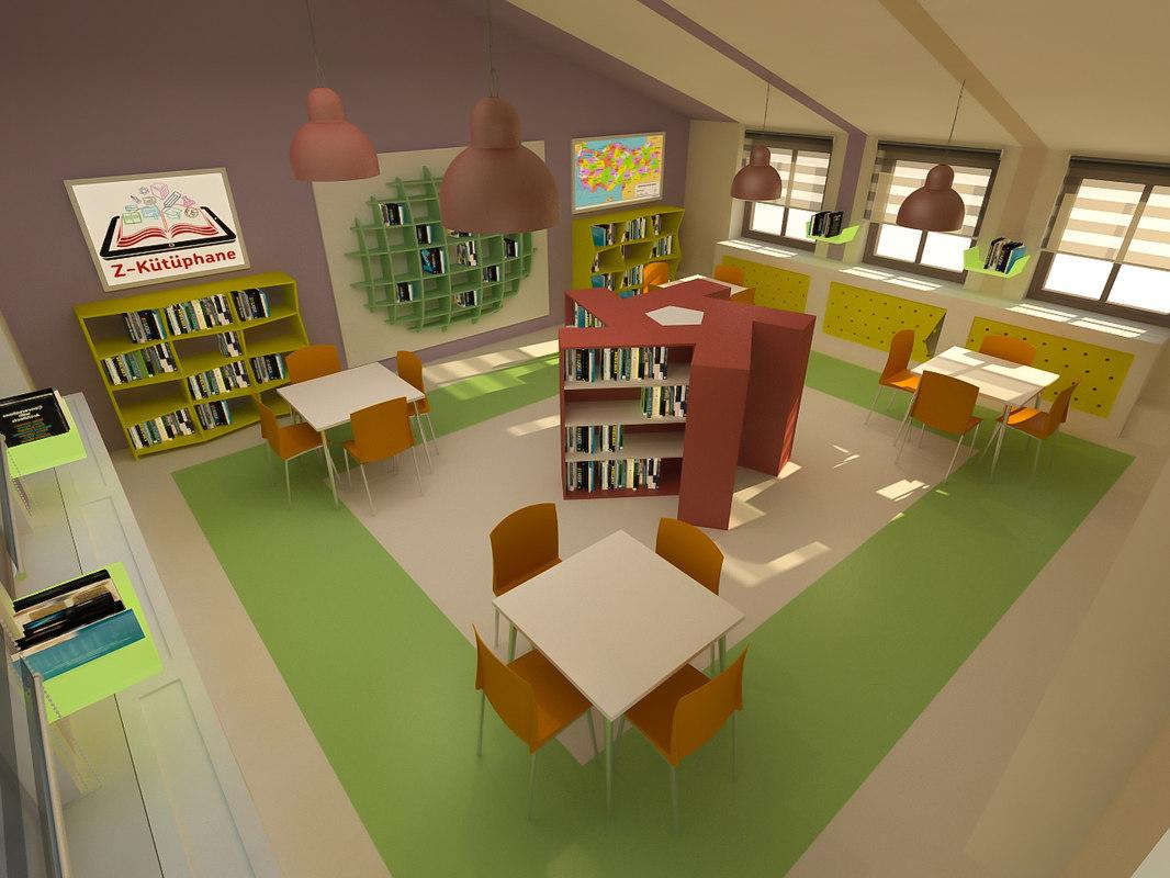 3D school library model