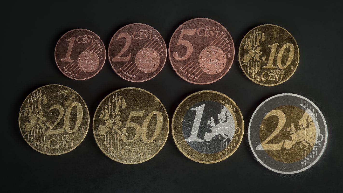 3D realistic euro - coins
