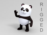 panda character cartoon 3D model