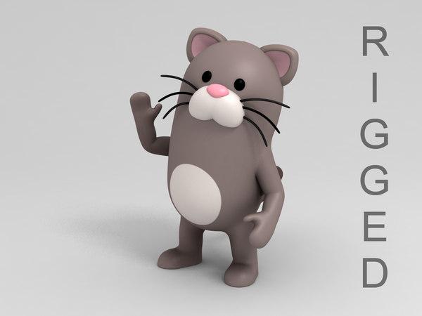 cat character cartoon 3D model