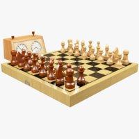 3D chess set chessboard model