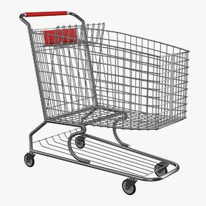 metallic shopping cart 3D model
