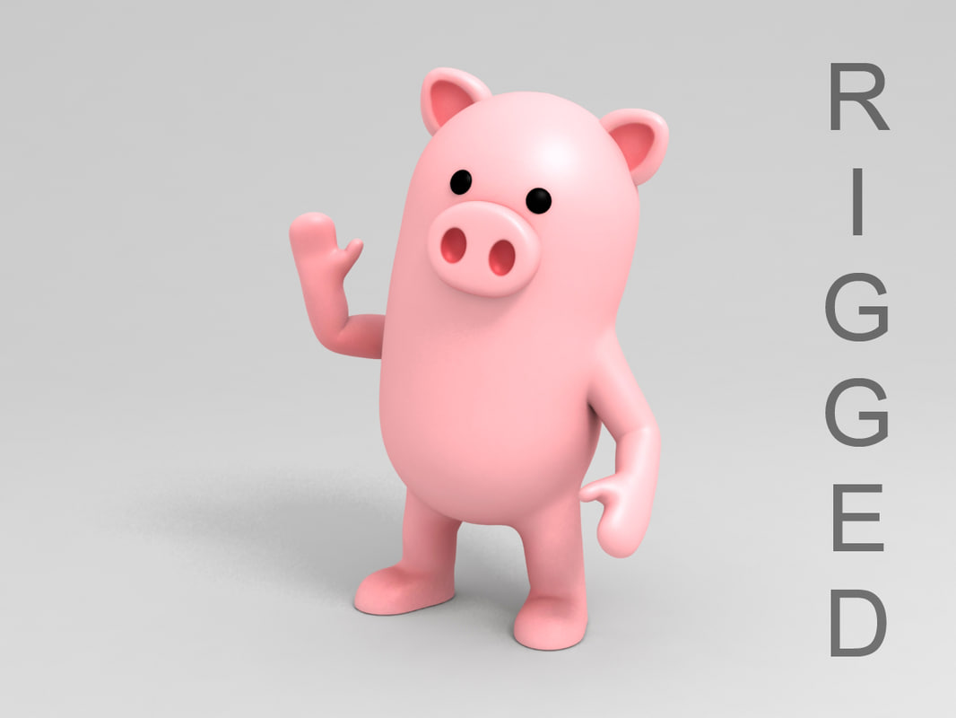 pig character cartoon 3D