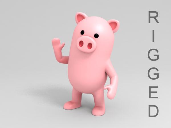 pig character cartoon 3D