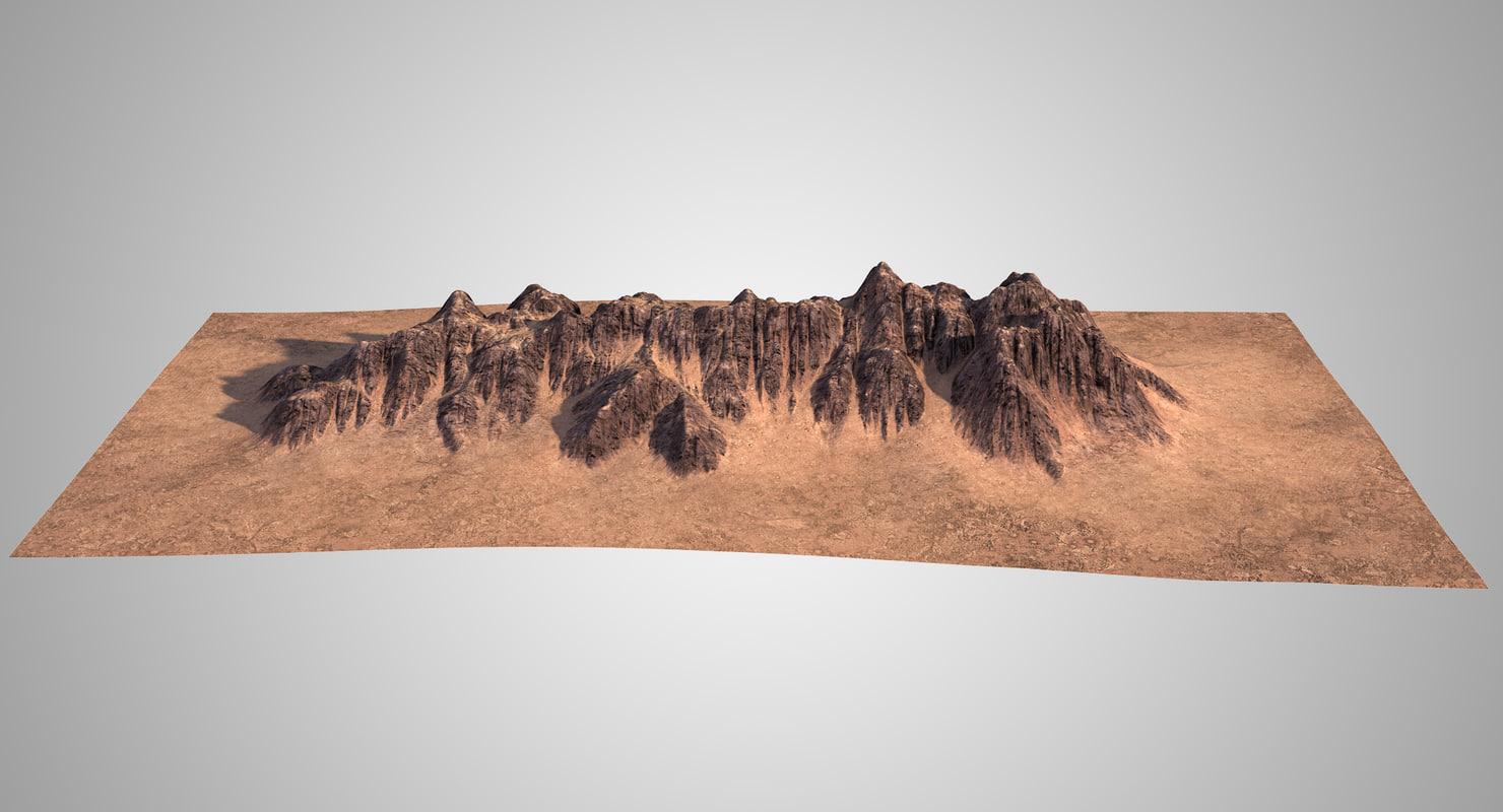 3D mountain ridge 2 model