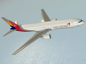 3D boeing 767-300 widebody airliner