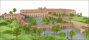 3D model monastery mallorca spain