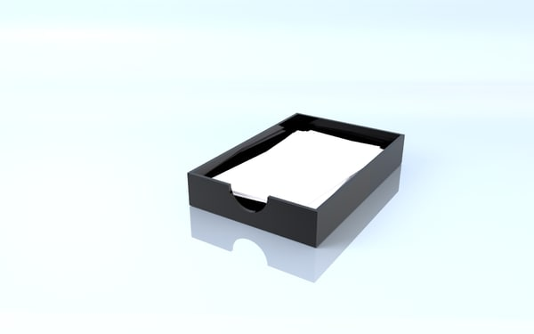 3D model office box cut
