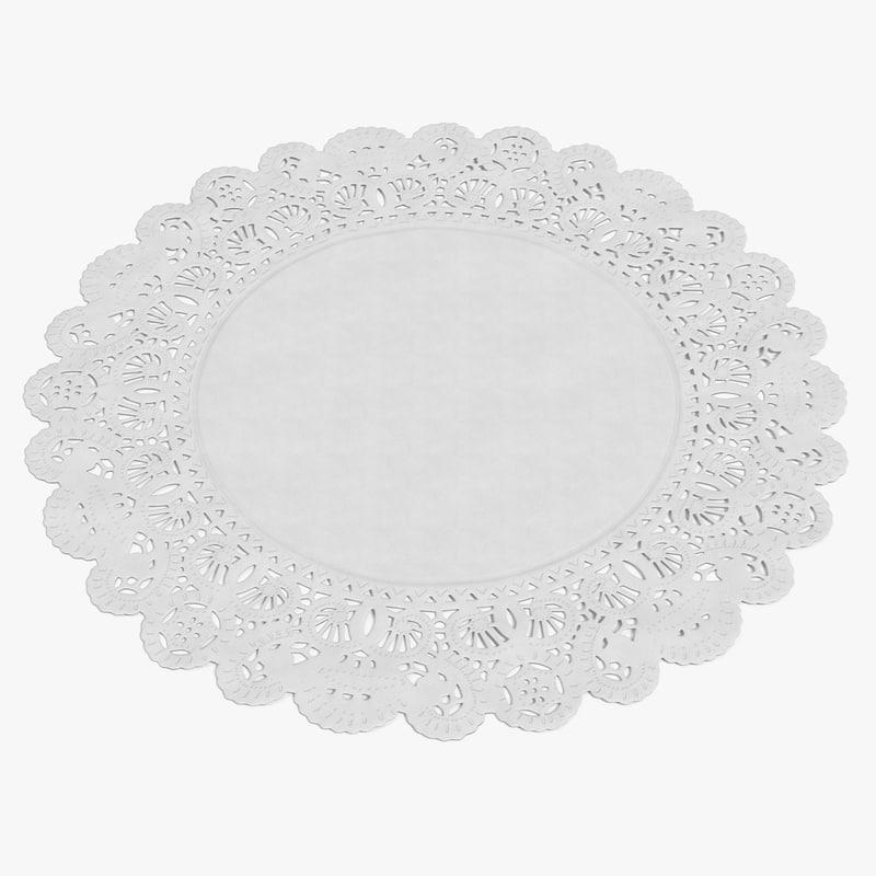 white paper lace doily 3D model