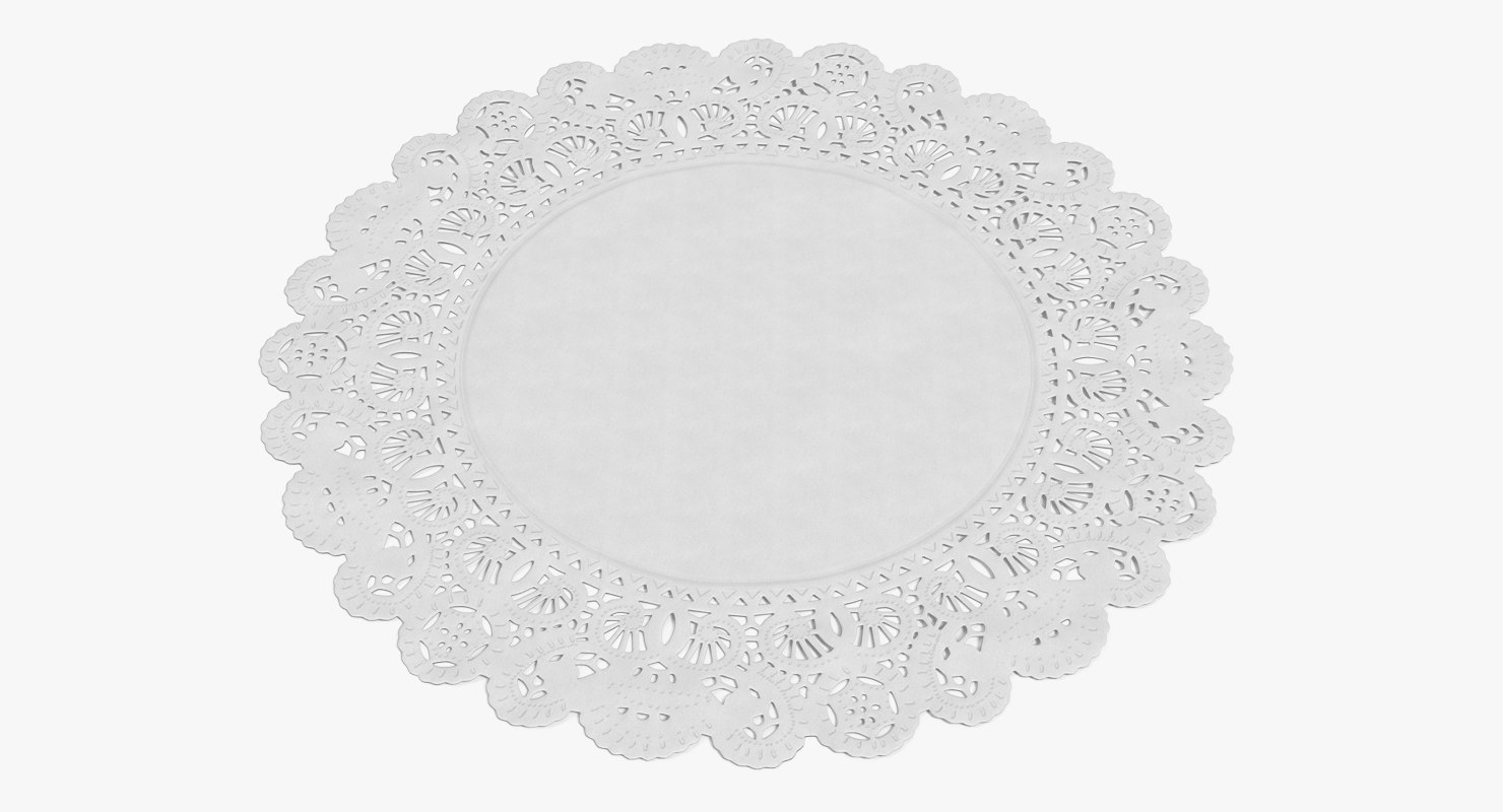 white paper lace doily 3D model