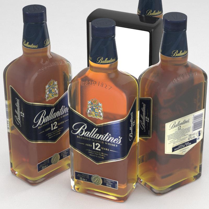 whisky scotch ballantines 3D model