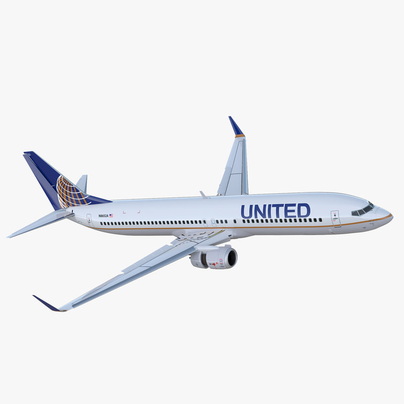 Boeing 737-900 ER United Airlines with Cabin Rigged 3D Model
