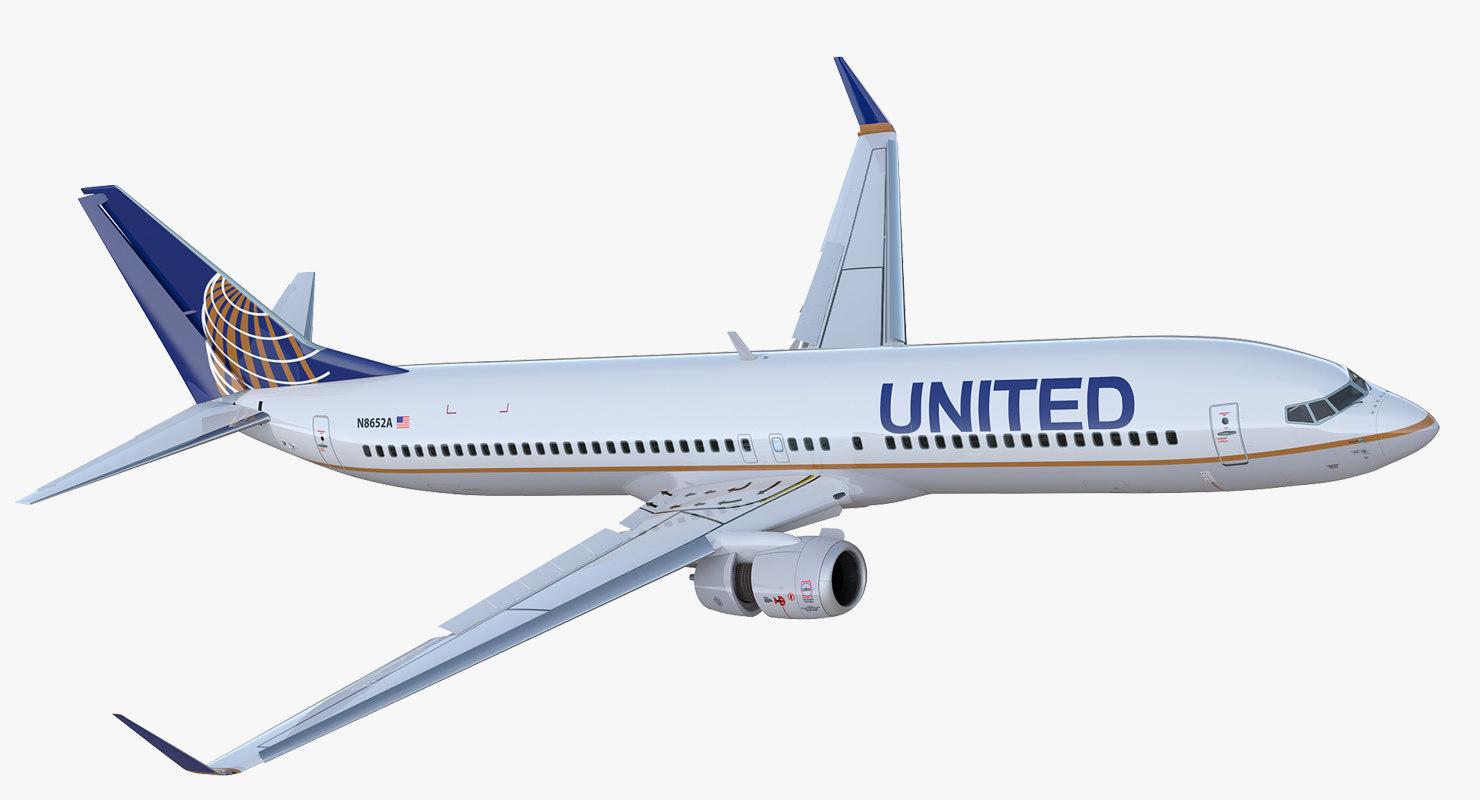 3D boeing 737-900 er united airlines