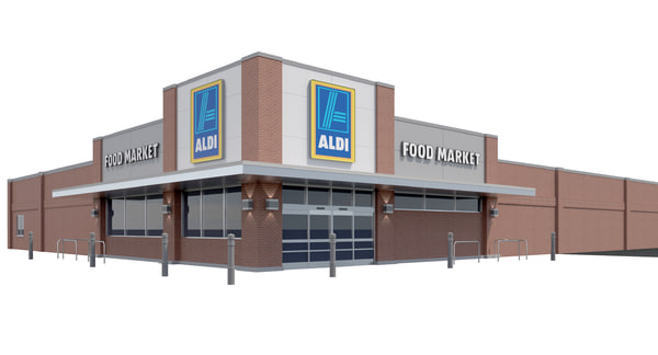 exterior retail aldi grocery store 3D model