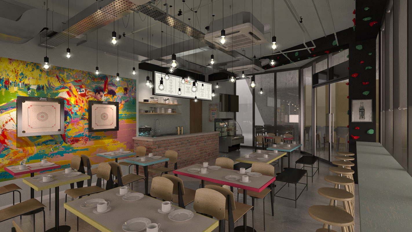 industrial cafe 3D model