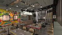 industrial cafe 3D model