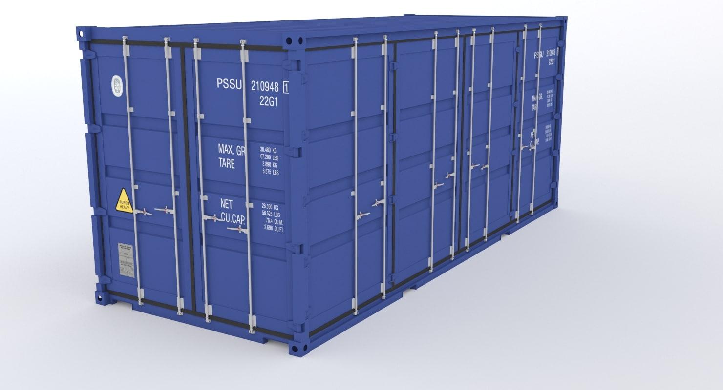 20ft industrial container door 3D model