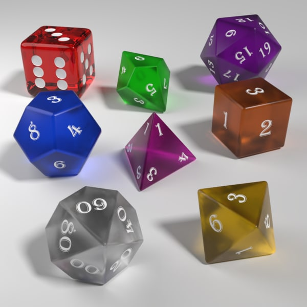 role playing dice glass model