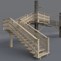 3D suspension wooden bridge architectural model
