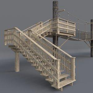 3D suspension wooden bridge architectural model