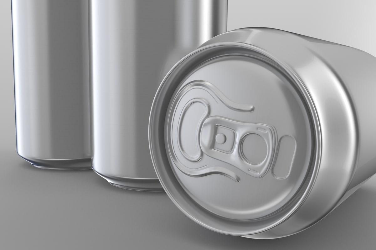 3D model beer soda aluminum cans
