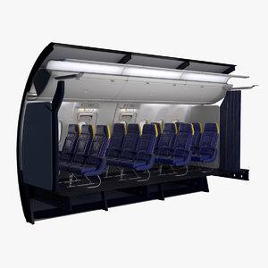 3D ryanair economy wing exit