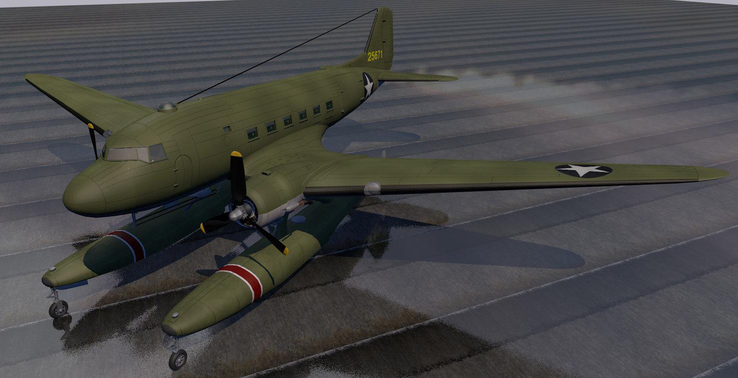 plane douglas xc-47c floatplane 3D model