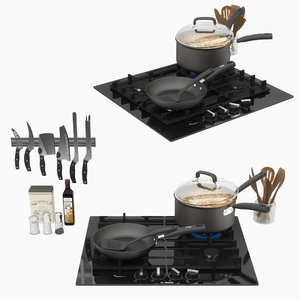 appliance cooktop cookware 3D