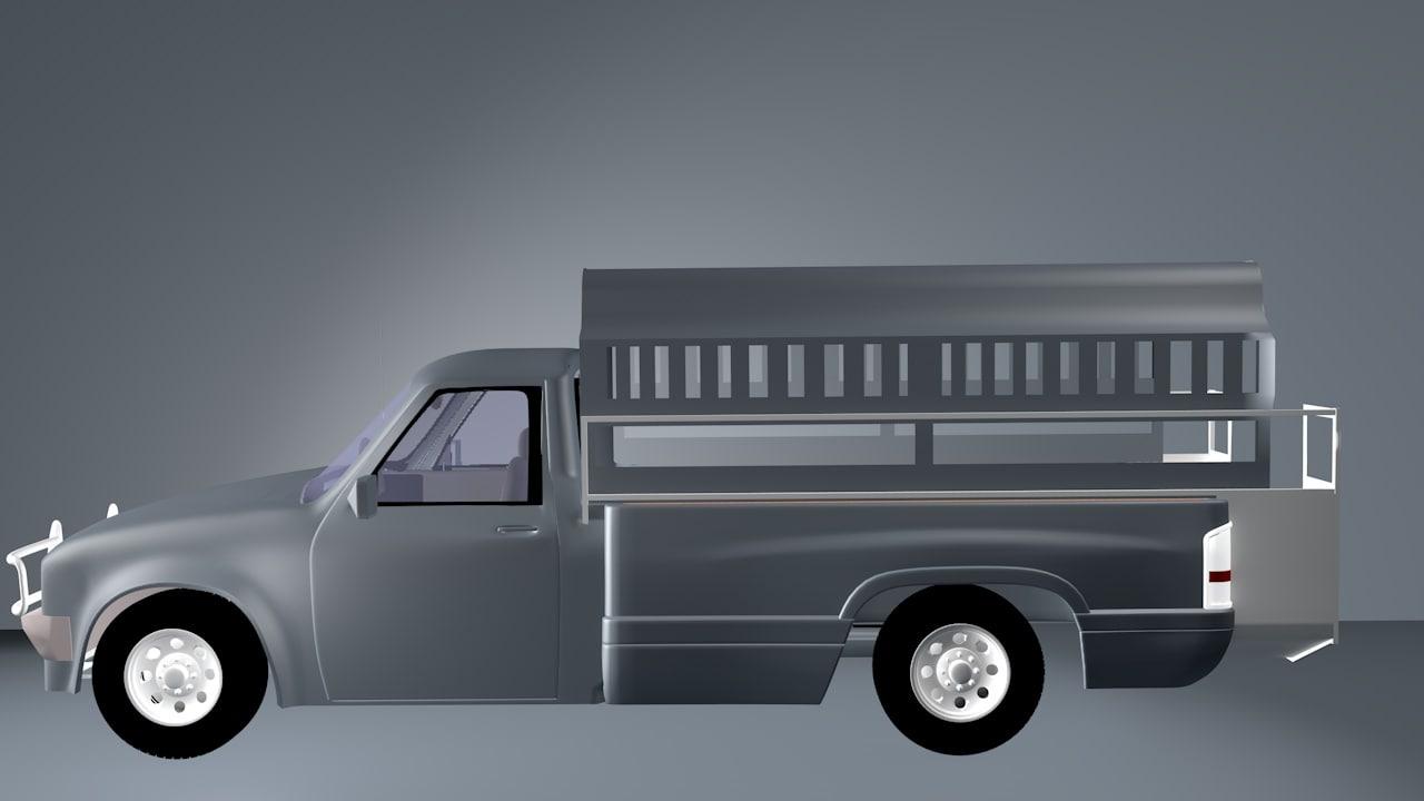 3D model camionette haiti