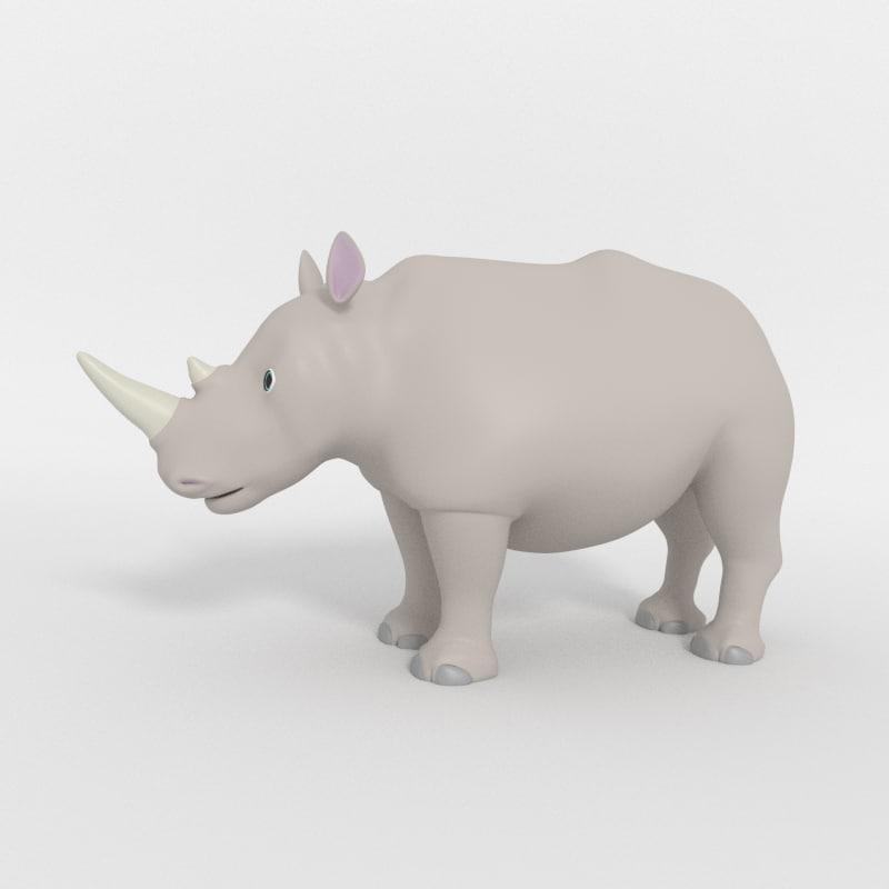 cartoon rhinoceros 3D model