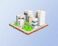 3D city block buildings office model