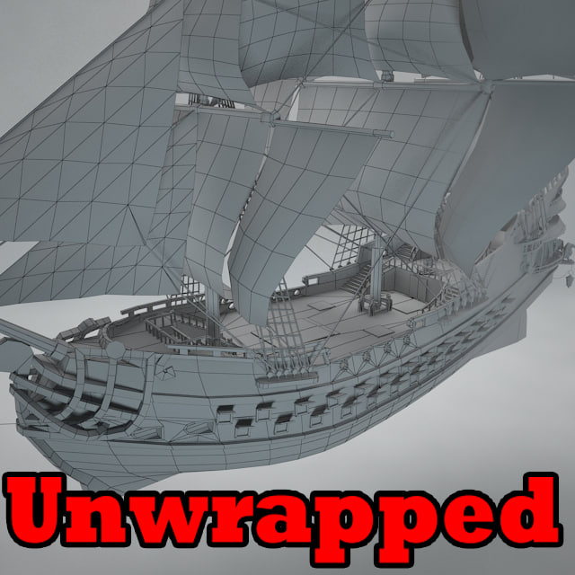 3D unwrapped galleon model
