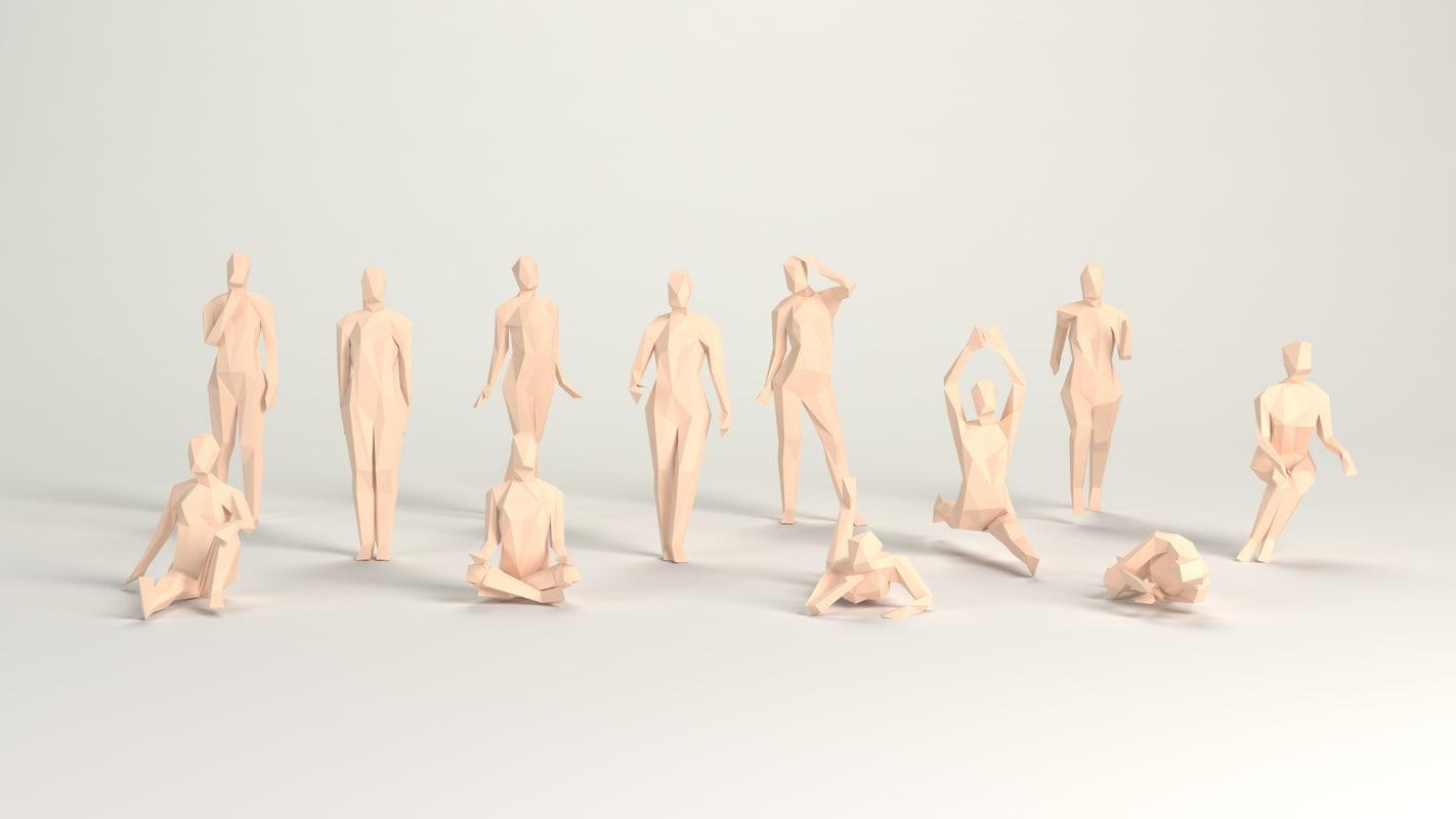 3D cartoon female pack poised model