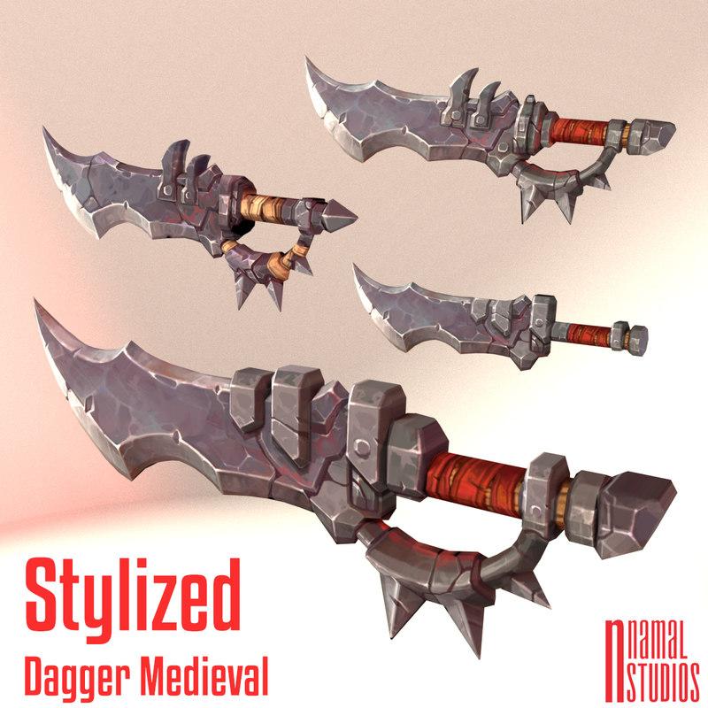 stylized daggers ready games 3D model