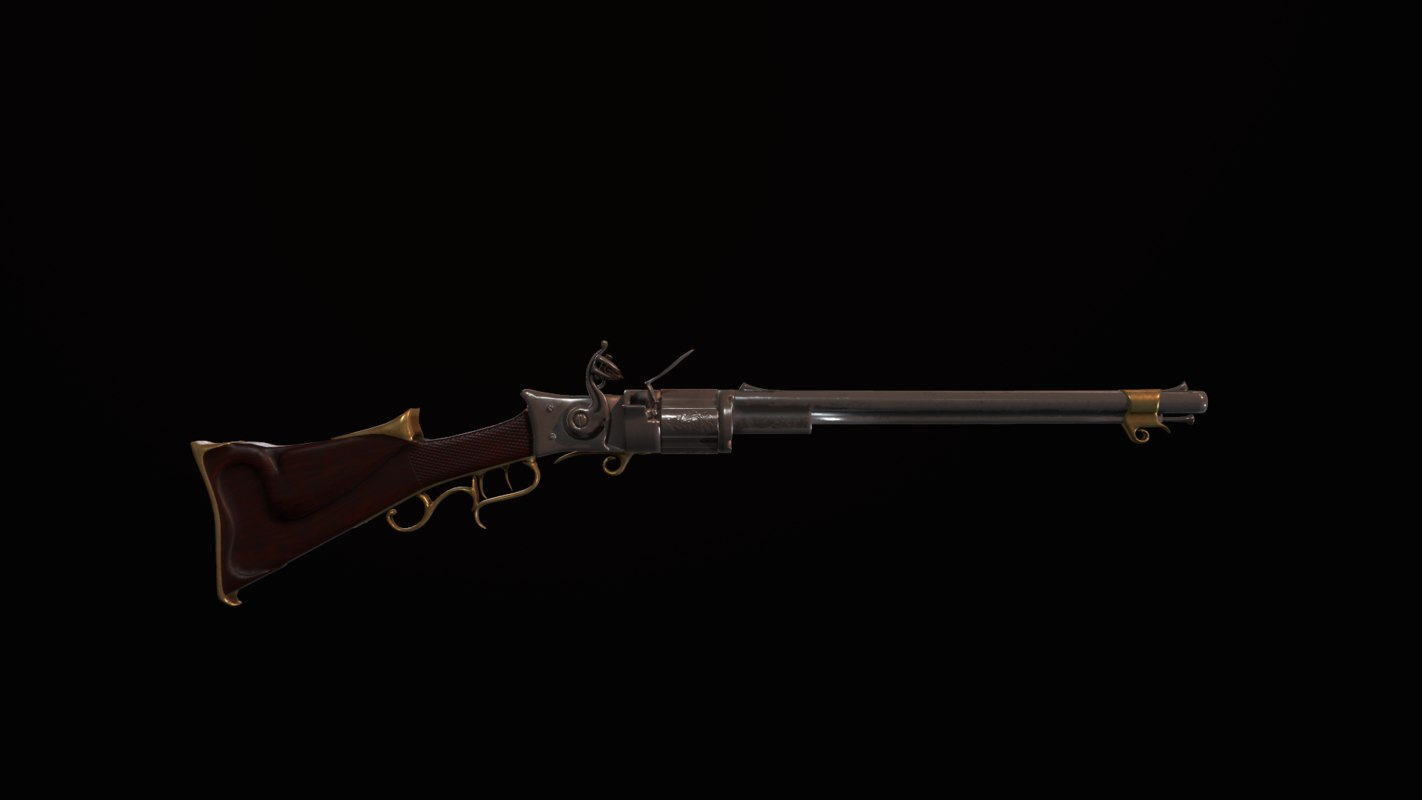 flintlock revolver rifle 3D model