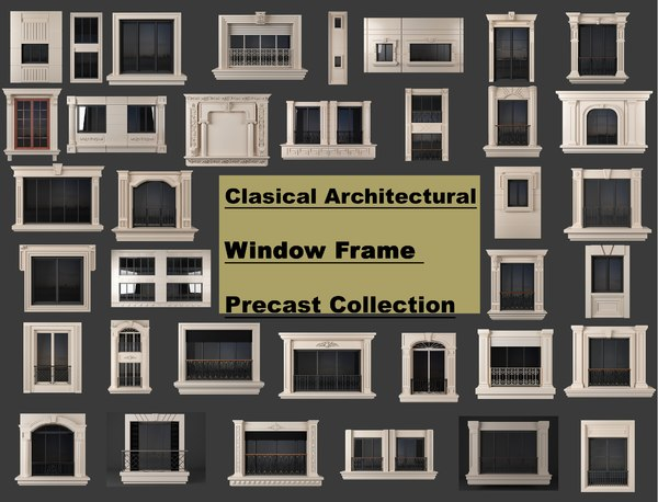 clasical architectural window frame 3D model
