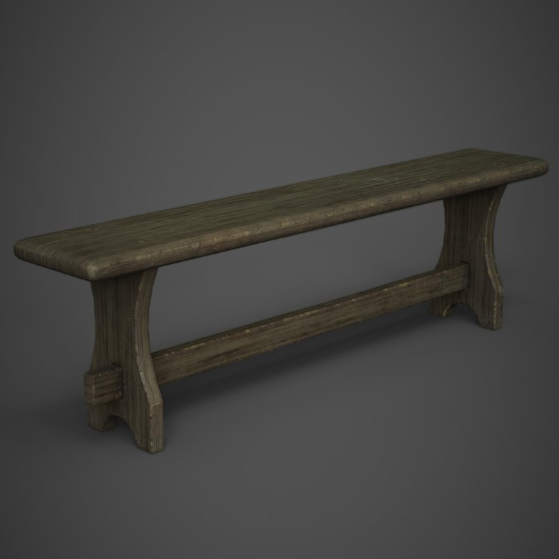 3D old wooden bench model