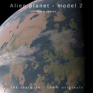 exoplanet alien planet terran 3D model