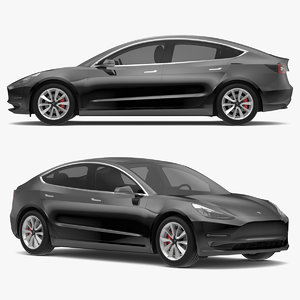 3D tesla 3 modeled s