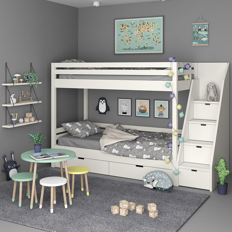 3D kids bedroom set model
