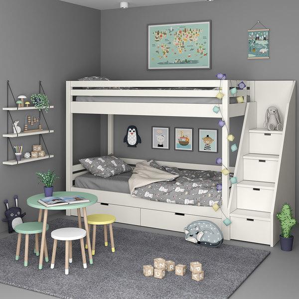 3D kids bedroom set model