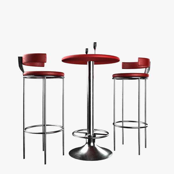 bar chair table set 3D
