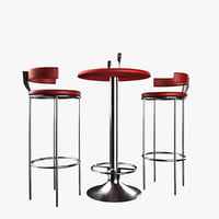 bar chair table set 3D