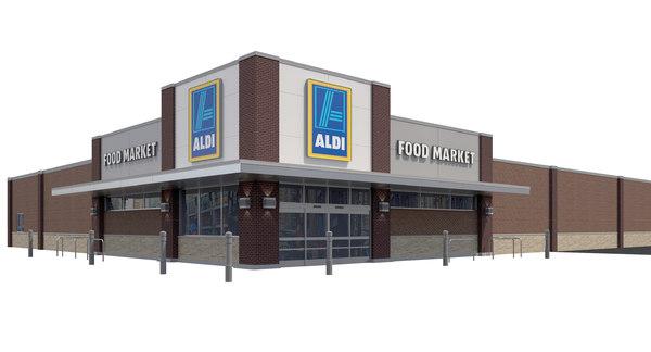 exterior retail aldi grocery store 3D