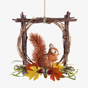 woodland wreath squirrel 3D model