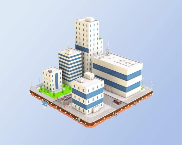 3D city block buildings factory