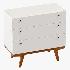 3D mid-century modern dresser model