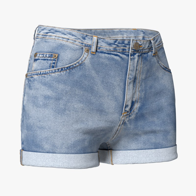 woman s jean shorts 3D model
