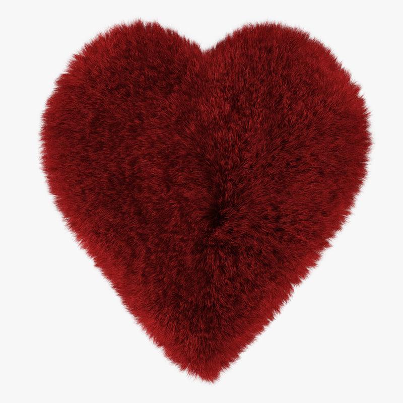 wool red heart rug 3D model